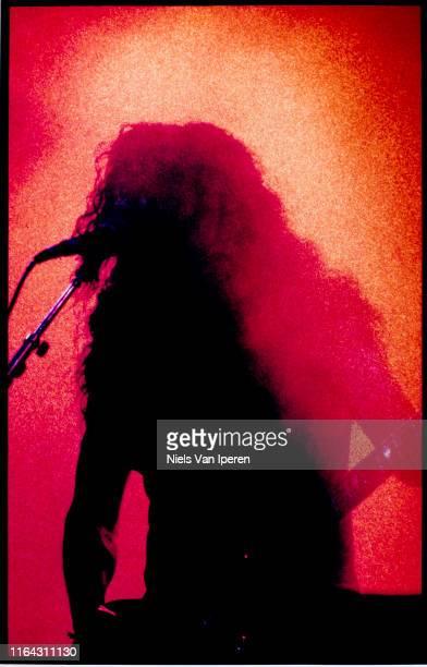 Tom Araya Slayer performing on stage Groenoordhal Leiden Netherlands 30th September 1990