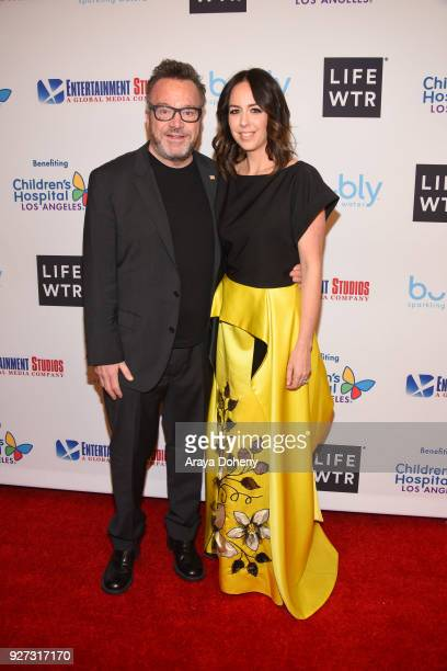 Tom Arnold and Ashley Groussman attend the Byron Allen's Oscar Gala Viewing Party to support the Children's Hospital Los Angeles at the Beverly...