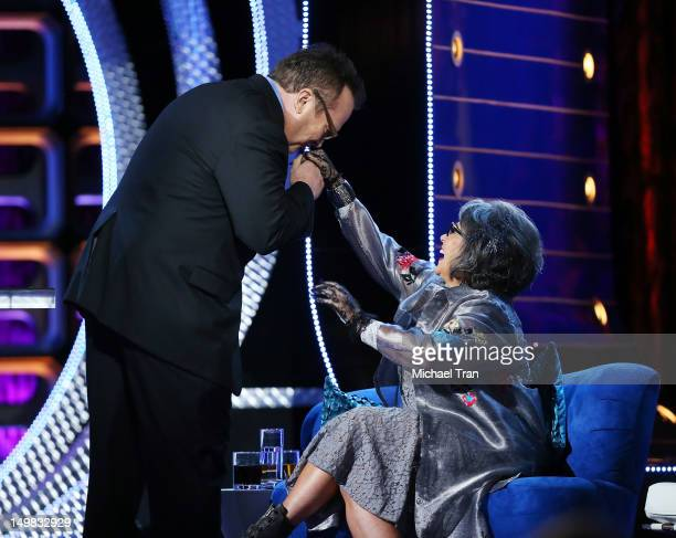 Tom Arnold and Roseanne Barr onstage at the Comedy Central Roast of Roseanne Barr held at Hollywood Palladium on August 4, 2012 in Hollywood,...