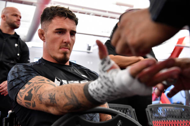 Tom Aspinall of England has his hands wrapped prior to his fight during the UFC Fight Night event at UFC APEX on September 04, 2021 in Las Vegas,...