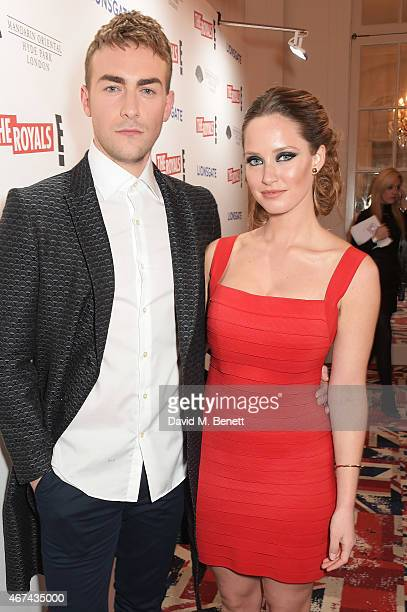 Tom Austen and Merritt Patterson attend the 'The Royals' UK premiere party at the Mandarin Oriental Hyde Park on March 24 2015 in London England 'The...