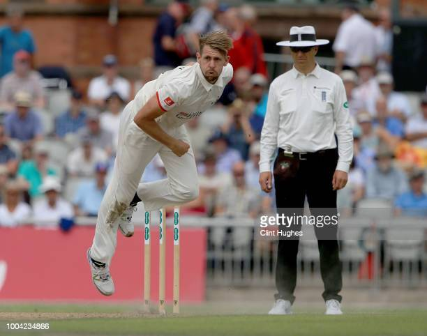 Tom Bailey of Lancashire bowls during day two of the Specsavers County Championship division one match between Lancashire and Yorkshire at Emirates...