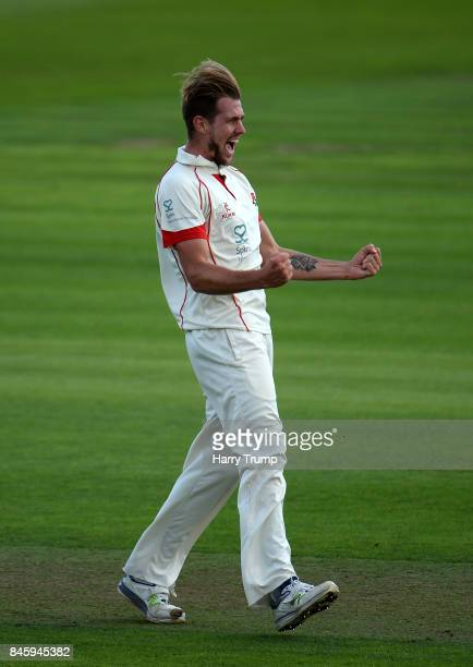 Tom Bailey of Lancashire celebrates after dismissing Marcus Trescothick of Somerset during Day One of the Specsavers County Championship Division One...