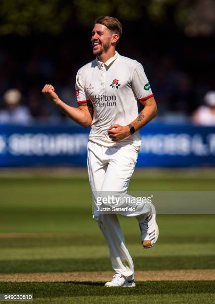Tom Bailey of Lancashire celebrates the wicket of Tom Wesley of Essex during the Specsavers County Championship Division One match between Essex and...