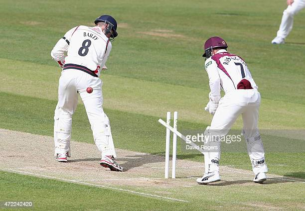 Tom Bailey of Lancashire is bowled by Josh Cobb during day three of the LV Division Two County Championship match between Northamptonshire and...