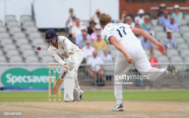 Tom Bailey of Lancashire is bowled out LBW by Steven Patterson of Yorkshire during the Specsavers Championship Division One match between Lancashire...