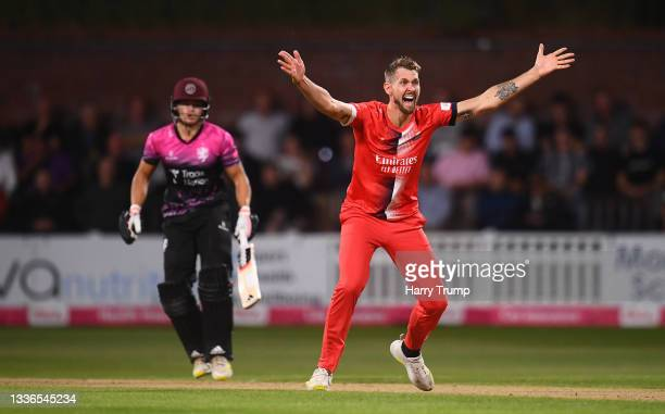 Tom Bailey of Lancashire Lightning appeals unsuccessfully for the LBW of Will Smeed of Somerset during the Vitality T20 Blast Quarter Final match...