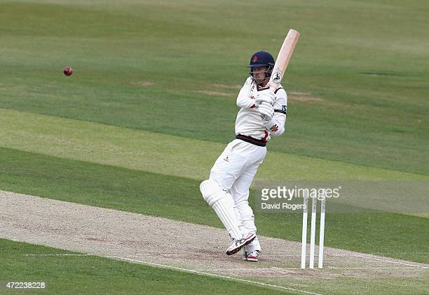 Tom Bailey of Lancashire pulls the ball during day three of the LV Division Two County Championship match between Northamptonshire and Lancashire...