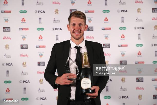 Tom Bailey of Lancashire with his County Championship Player of the Year Award during the NatWest PCA Awards at The Roundhouse on October 4 2018 in...