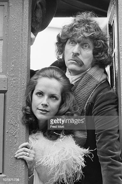 Tom Baker as Doctor Who and Mary Tamm as his companion Romana on the set of the BBC television science fiction series 'Doctor Who' at BBC TV Centre...
