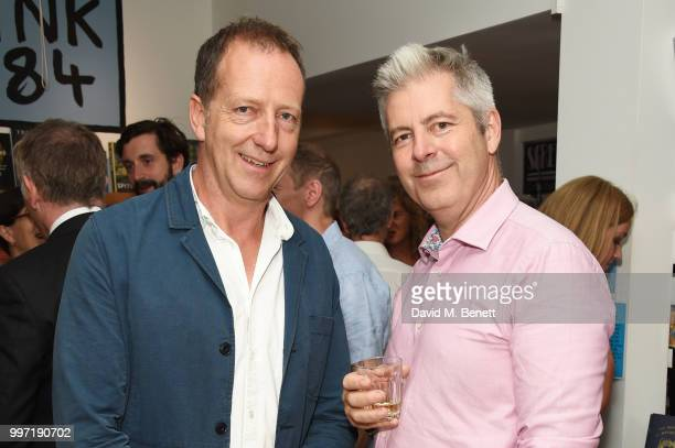 Tom Baldwin and Justin Webb attend the launch of new book 'Ctrl Alt Delete' by Tom Baldwin at Ink 84 on July 12 2018 in London England