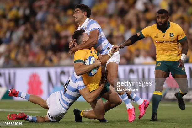 Tom Banks of the Wallabies is tackled high during the 2020 Tri-Nations match between the Australian Wallabies and the Argentina Pumas at McDonald...