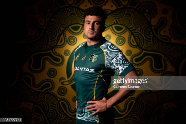 Tom Banks of the Wallabies poses during the Australian Wallabies 2020 First Nations Jersey portrait session on October 22 2020 in the Hunter Valley...