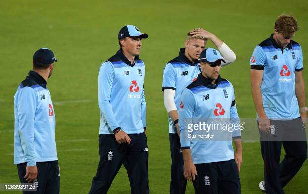 Tom Banton and Sam Billings of England walk off dejected after the Third One Day International between England and Ireland in the Royal London Series...