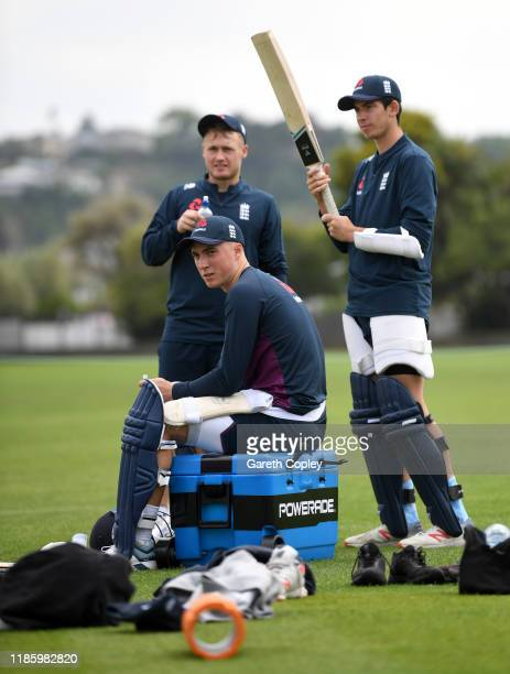 Tom Banton Matt Parkinson and Pat Brown of England and during a nets session at McLean Park on November 07 2019 in Napier New Zealand