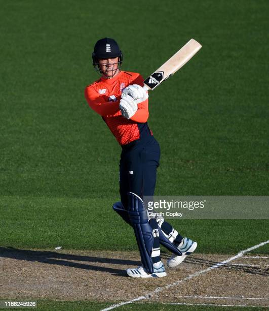 Tom Banton of England bats during game four of the Twenty20 International series between New Zealand and England at McLean Park on November 08 2019...