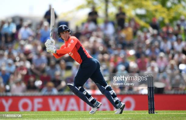 Tom Banton of England bats during game three of the Twenty20 International series between New Zealand and England at Saxton Field on November 05 2019...