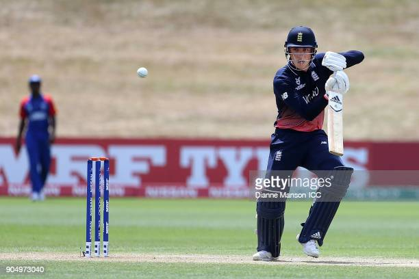 Tom Banton of England bats during the ICC U19 Cricket World Cup match between England and Namibia at John Davies Oval on January 15 2018 in...