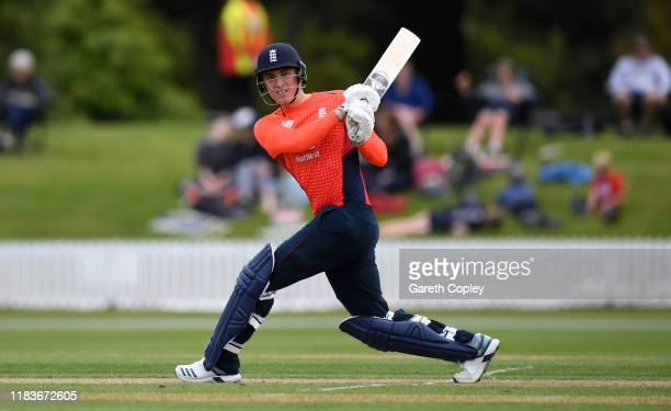 Tom Banton of England bats during the tour match between New Zealand XI and England at Bert Sutcliffe Oval on October 27 2019 in Lincoln New Zealand