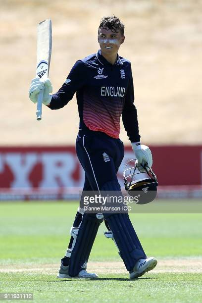 Tom Banton of England celebrates his centurey during the ICC U19 Cricket World Cup match between New Zealand and England at John Davies Oval on...