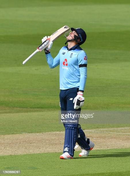 Tom Banton of England celebrates reaching fifty during the Third One Day International between England and Ireland in the Royal London Series at...