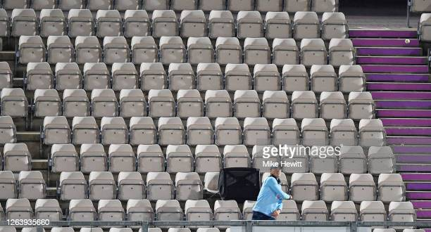 Tom Banton of England collects a ball from the stand during the Third One Day International between England and Ireland in the Royal London Series at...