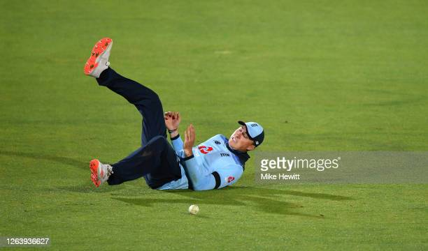 Tom Banton of England drops a catch during the Third One Day International between England and Ireland in the Royal London Series at Ageas Bowl on...