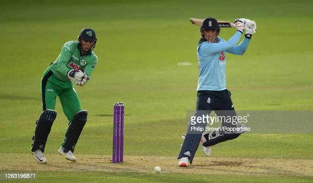 Tom Banton of England hits out watched by Lorcan Tucker during the second One Day International against Ireland at the Ageas Bowl on August 01, 2020...