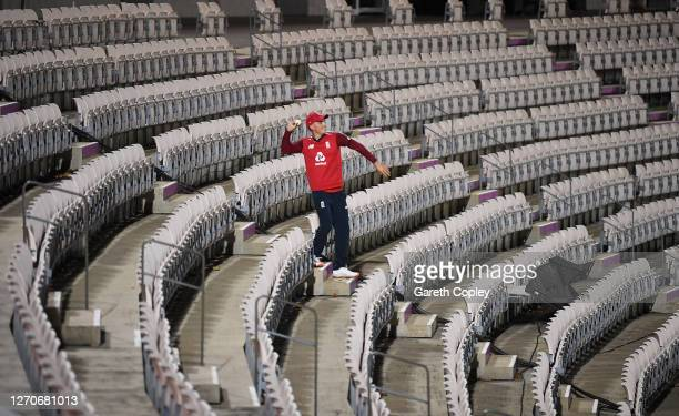 Tom Banton of England retrieves a Steve Smith of Australia six from the stands during the 1st Vitality International Twenty20 match between England...