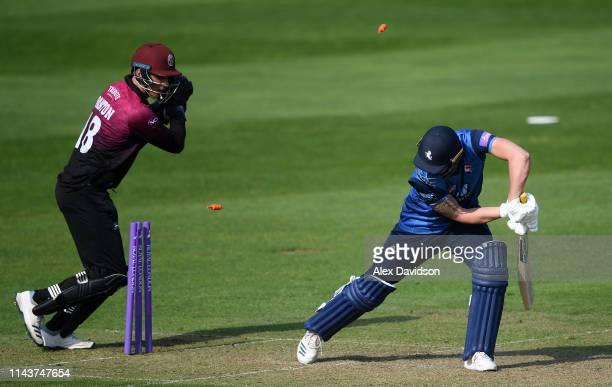 Tom Banton of Somerset attempts to stump Harry Podmore of Kent during the Royal London One Day Cup match between Somerset and Kent at The Cooper...