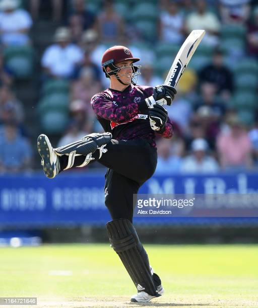 Tom Banton of Somerset bats during the Vitality Blast match between Somerset and Sussex Sharks at The Cooper Associates County Ground on July 28 2019...