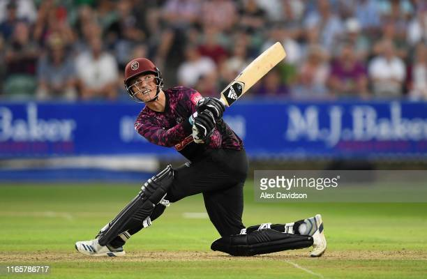 Tom Banton of Somerset bats during the Vitality Blast match between Somerset and Surrey at The Cooper Associates County Ground on August 02 2019 in...
