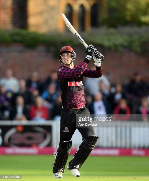 Tom Banton of Somerset bats during the Vitality Blast match between Somerset and Kent Spitfires at The Cooper Associates County Ground on August 10...