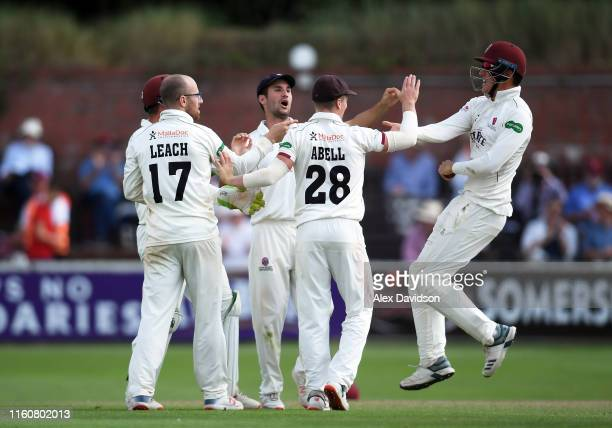 Tom Banton of Somerset celebrates catching Tom Moores of Nottinghamshire with his teammates during Day Two of the Specsavers County Championship...