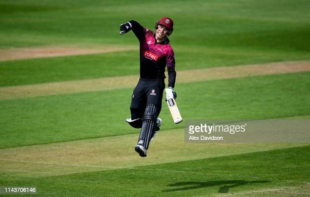 Tom Banton of Somerset celebrates reaching his century during the Royal London One Day Cup match between Somerset and Kent at The Cooper Associates...