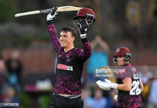Tom Banton of Somerset celebrates reaching his century during the Vitality Blast match between Somerset and Kent Spitfires at The Cooper Associates...