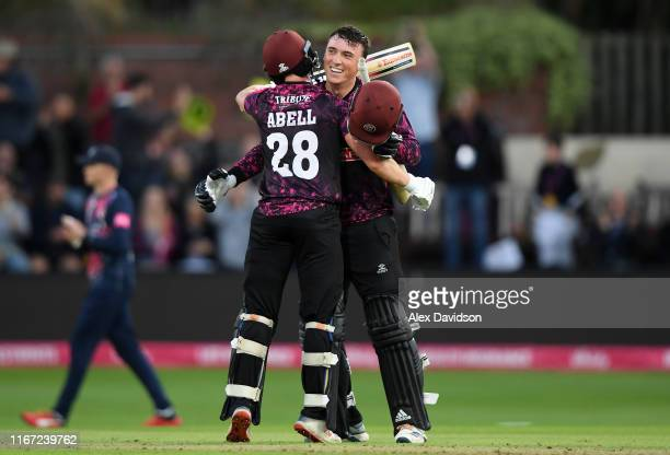 Tom Banton of Somerset celebrates reaching his century with Tom Abell of Somerset during the Vitality Blast match between Somerset and Kent Spitfires...