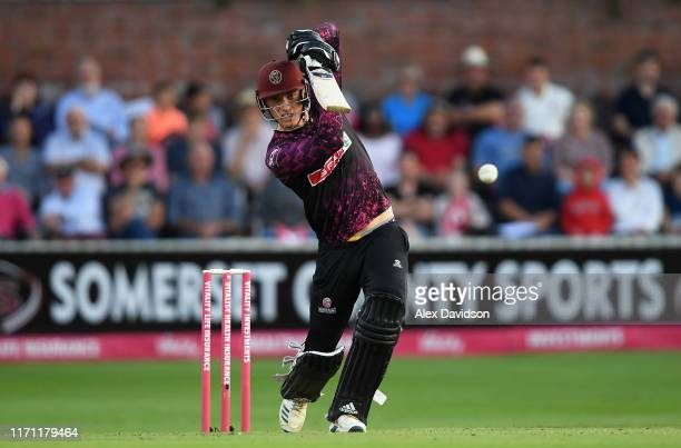 Tom Banton of Somerset drives during the Vitality Blast match between Somerset and Middlesex at The Cooper Associates County Ground on August 30 2019...