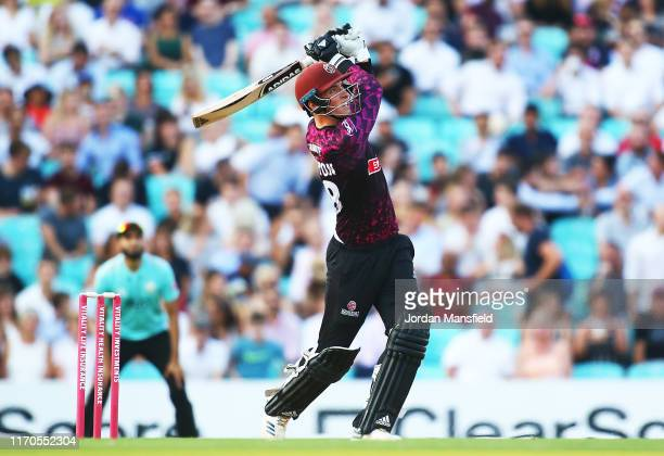 Tom Banton of Somerset hits out during the Vitality T20 Blast match between Surrey and Somerset at The Kia Oval on August 27 2019 in London England