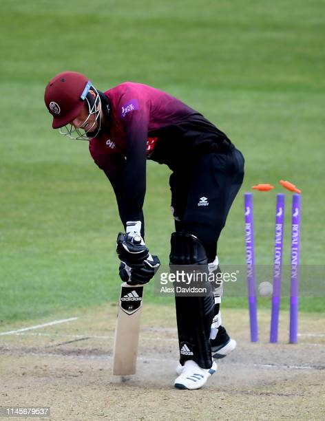 Tom Banton of Somerset is bowled by David Payne of Gloucestershire during the Royal London One Day Cup match between Gloucestershire and Somerset at...