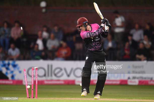 Tom Banton of Somerset is bowled by Tom Bailey of Lancashire Lightning during the Vitality T20 Blast Quarter Final match between Somerset CCC and...