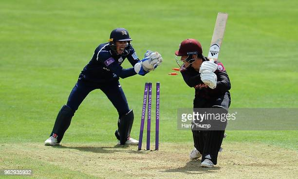 Tom Banton of Somerset is stumped by John Simpson of Middlesex during the Royal London OneDay Cup match between Somerset and Middlesex at The Cooper...