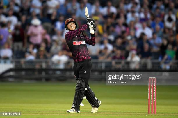 Tom Banton of Somerset plays a shot during the Vitality Blast match between Gloucestershire and Somerset at Bristol County Ground on August 23 2019...