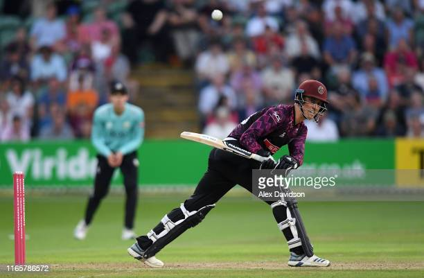 Tom Banton of Somerset reverse sweeps during the Vitality Blast match between Somerset and Surrey at The Cooper Associates County Ground on August 02...
