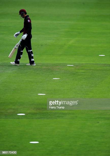 Tom Banton of Somerset walkfs off after being dismissed during the Royal London OneDay Cup match between Somerset and Gloucestershire at The Cooper...