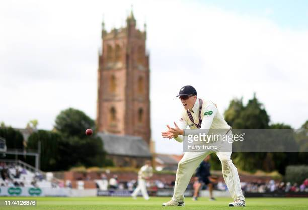 Tom Banton of Somerset warms up prior to fielding during Day Three of the Specsavers County Championship Division One match between Somerset and...