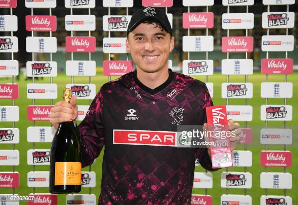 Tom Banton of Somerset with his Vitality man of the match award during the Vitality Blast match between Somerset and Kent Spitfires at The Cooper...