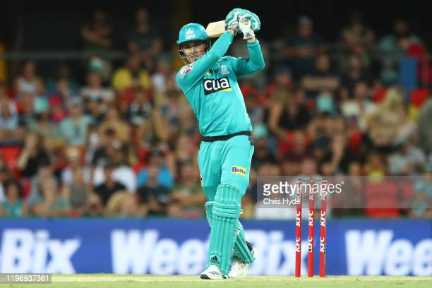 Tom Banton of the Heat bats during the Big Bash League match between the Brisbane Heat and the Perth Scorchers at Metricon Stadium on January 01 2020...