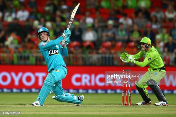 Tom Banton of the Heat bats during the Big Bash League match between the Sydney Thunder and the Brisbane Heat at the Sydney Showground on January 06...