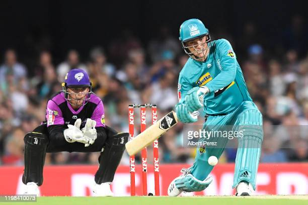 Tom Banton of the Heat bats during the Big Bash League match between the Brisbane Heat and the Hobart Hurricanes at the Gabba on January 09 2020 in...
